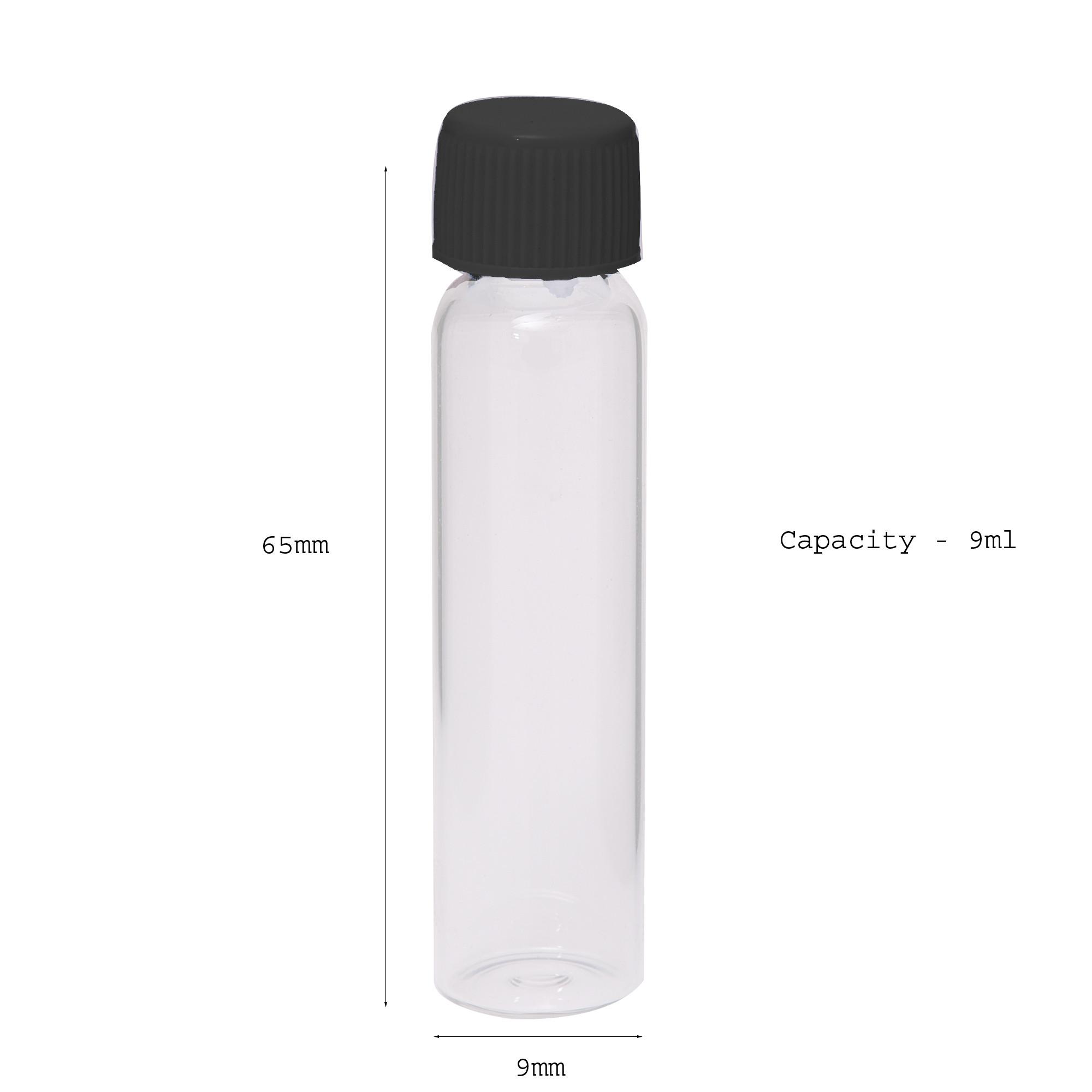 Empty Glass Vials - 9 ml - 2 Dram - Black Color Cap